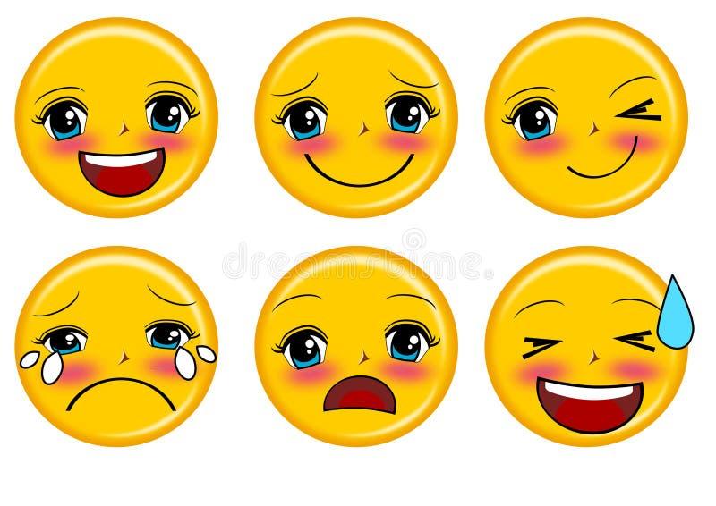 Emoticons do sorriso ajustados ilustração royalty free