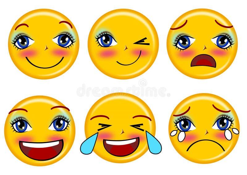 Emoticons do sorriso ajustados ilustração stock
