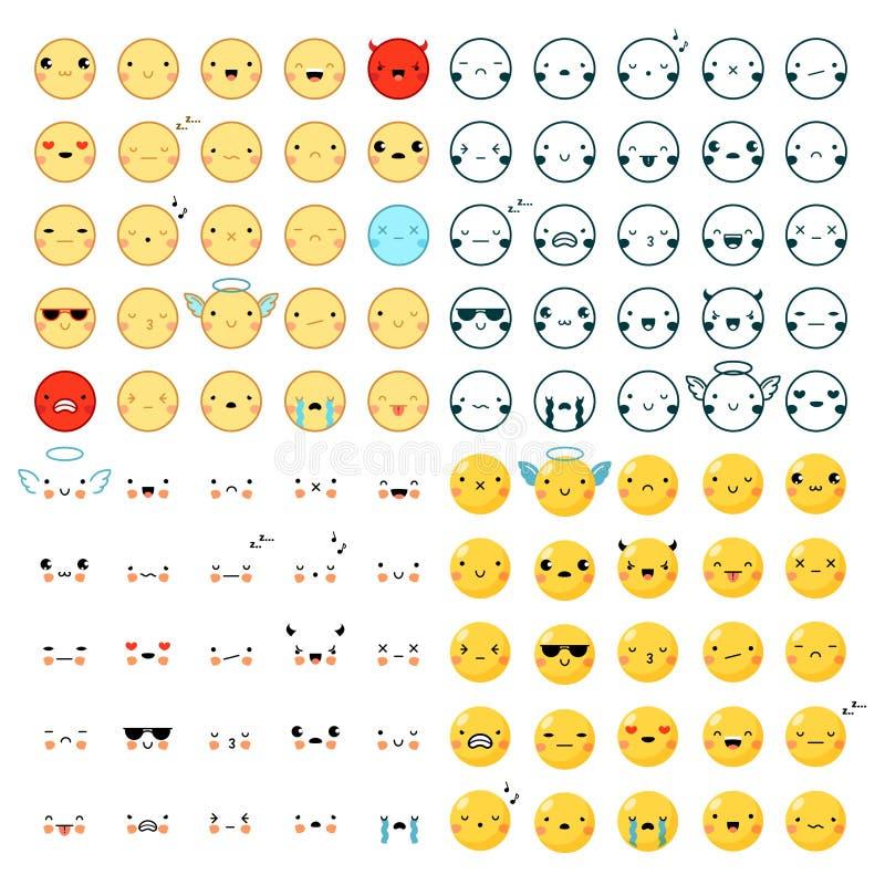 Emoticons Duży set ilustracji
