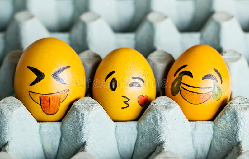 Emoticons easter eggs. Easter eggs with images of emoticons royalty free stock image