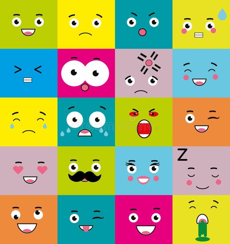 Emoticons Emoji Icons Set Colorful Square Mood Symbols Face
