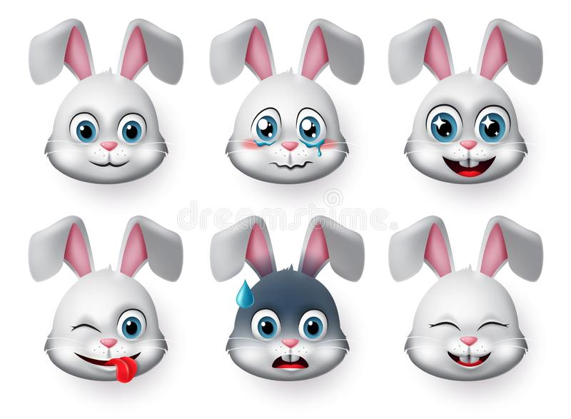 Emoticons and emoji rabbit face vector set. Rabbits bunny faces animal emojis in naughty, crying, excited, smiling and happy. royalty free stock images