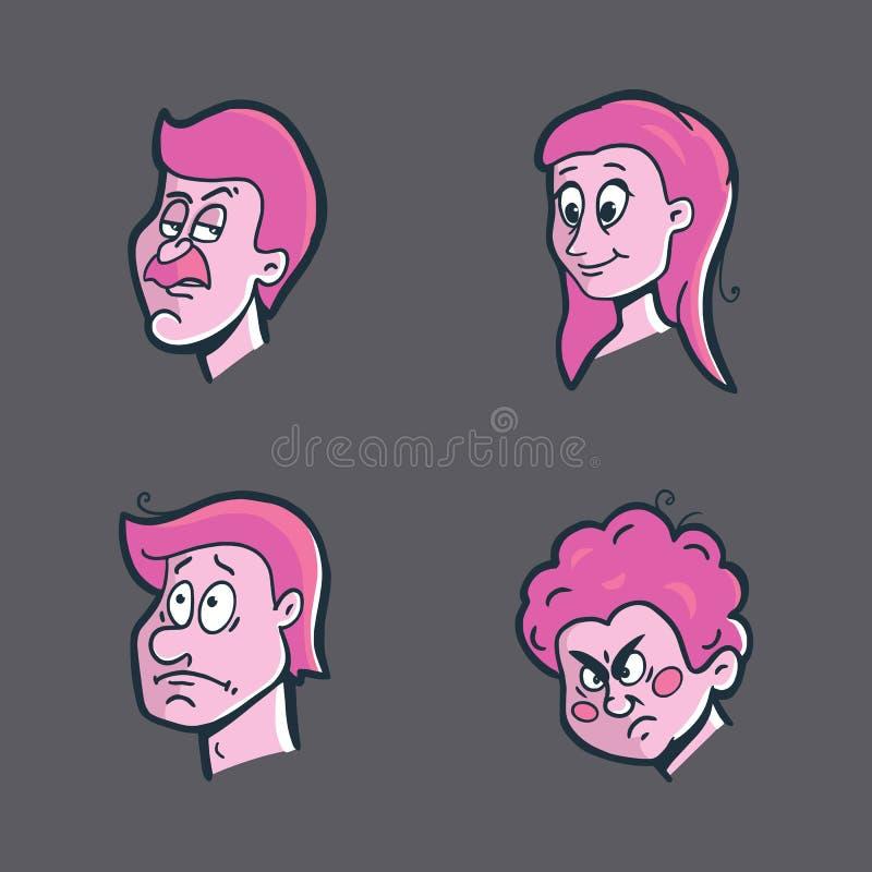 Emoticons, emoji set with facial expressions stock illustration