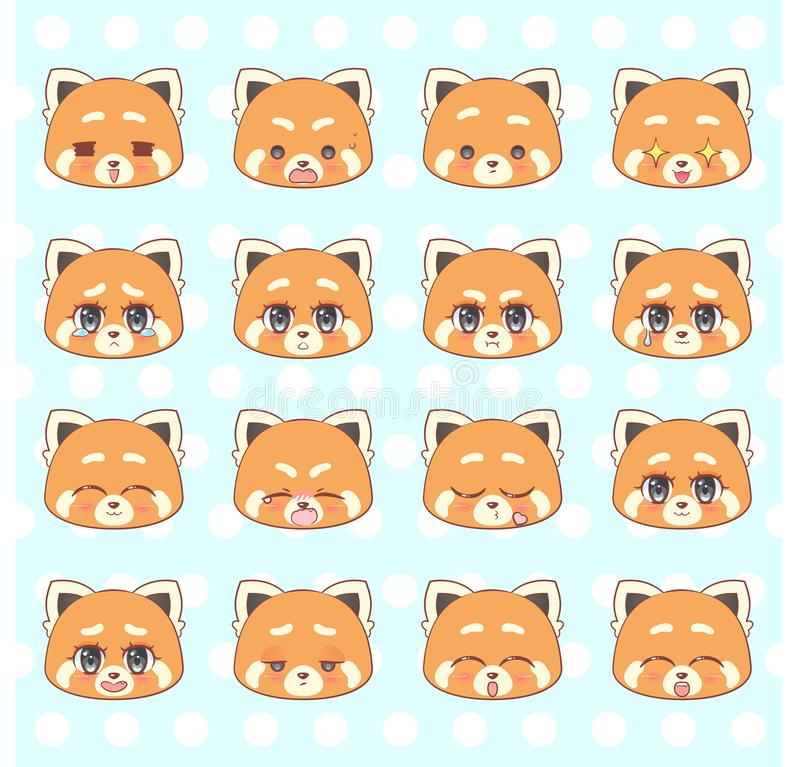 Free Emoticons, Emoji, Smiley Set, Colorful Sweet Kitty Little Cute Kawaii Anime Cartoon Red Panda Girl Different Emotions Mascot Stick Royalty Free Stock Images - 108319329