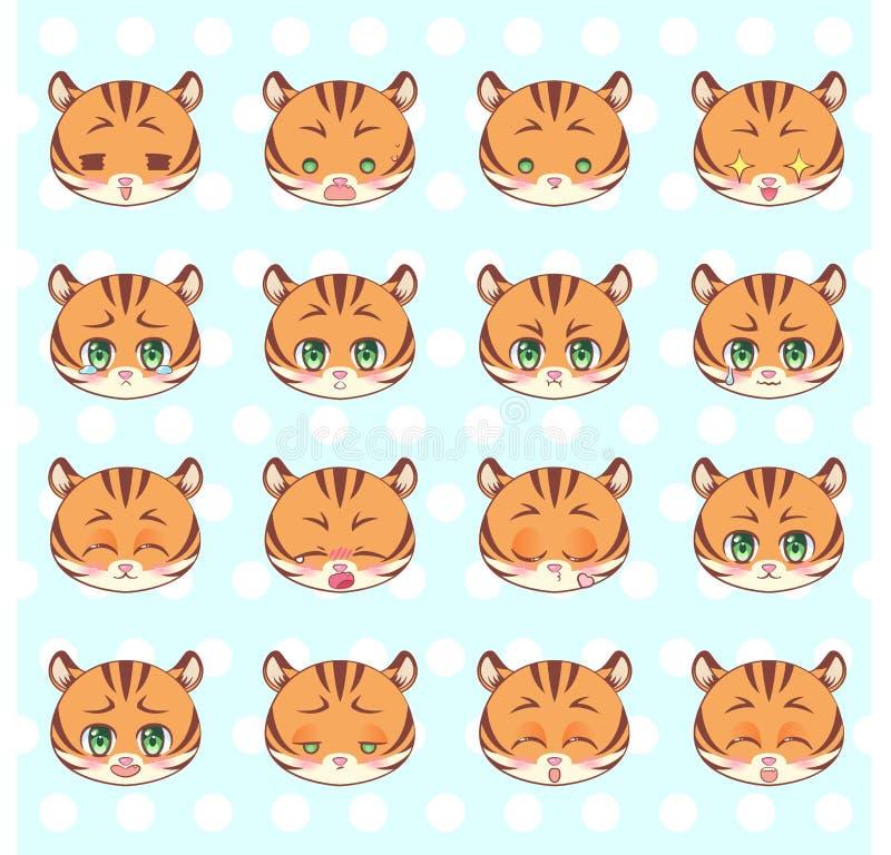 Emoticons, emoji, smiley set, kolorowego Słodkiego kiciuni kawaii anime kreskówki Małego ślicznego tygrysa emocj maskotki różny m ilustracja wektor