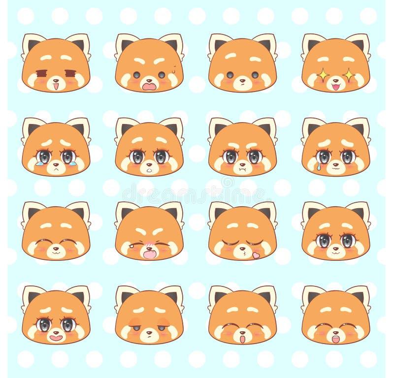Emoticons, emoji, smiley set, kolorowej Słodkiej kiciuni kawaii anime kreskówki czerwonej pandy Małej ślicznej dziewczyny emocj m royalty ilustracja
