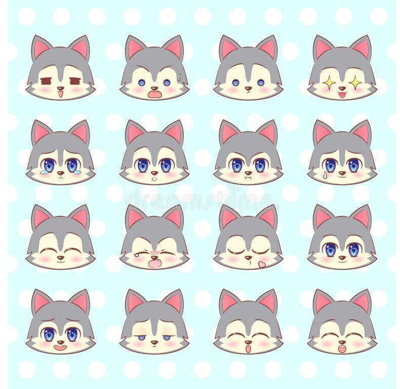 Emoticons, emoji, smiley set, kolorowej Słodkiej kiciuni kawaii anime kreskówki Mały śliczny wilk, szczeniak l różny emoci maskot ilustracji