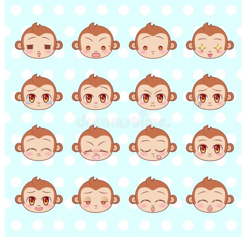 Emoticons, emoji, smiley set, kolorowej Słodkiej Małej ślicznej kawaii anime kreskówki małpy emocj maskotki różny majcher Szczęśl ilustracja wektor