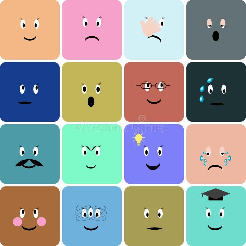 Emoticons, emoji, smiley square icon set. Vector illustration. Colorful emoticons, emoji, smiley square icon set. Vector illustration in flat style vector illustration