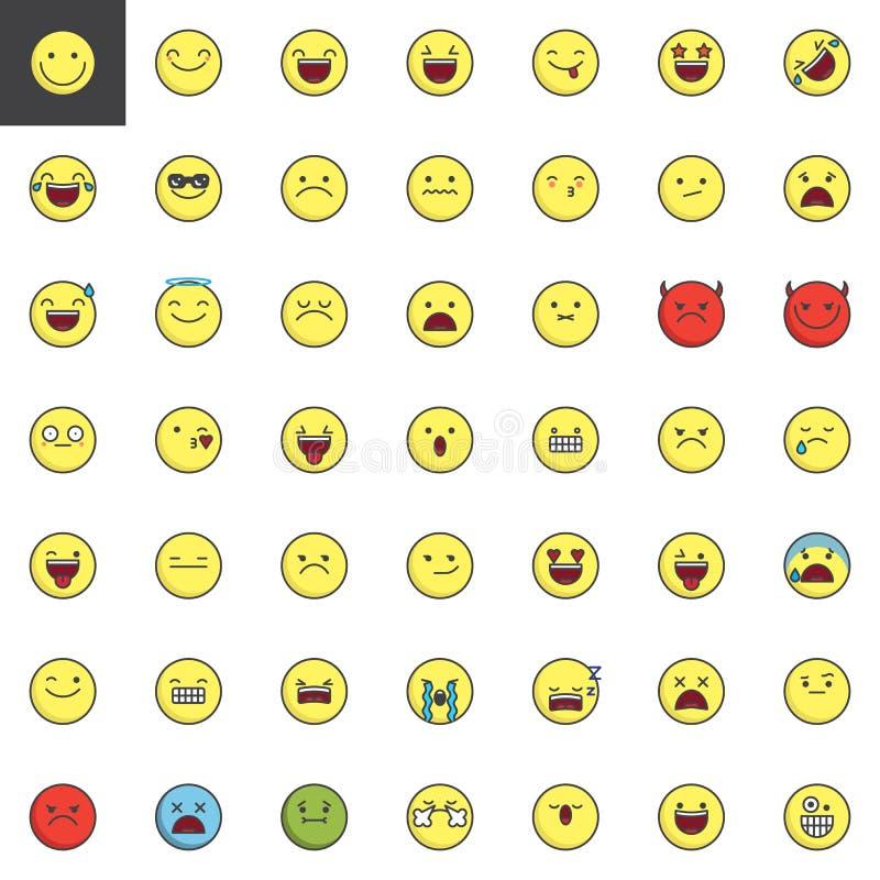 Emoticons, emoji, smiley wypełniali kontur ikony ustawiać royalty ilustracja