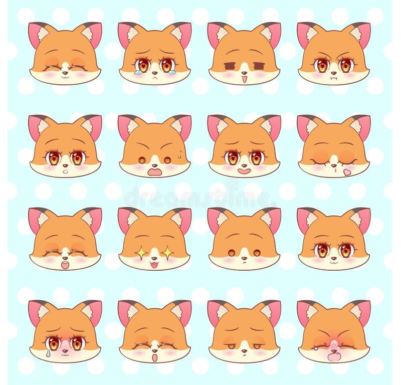 Emoticons emoji, smileyuppsättning, färgrik söt räv för tecknad film för Kitty Little gullig kawaiianime, maskot för sinnesrörels vektor illustrationer