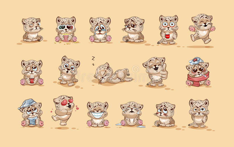 Emoticons för klistermärke för gröngöling för leopard för Emoji teckentecknad film med olika sinnesrörelser stock illustrationer