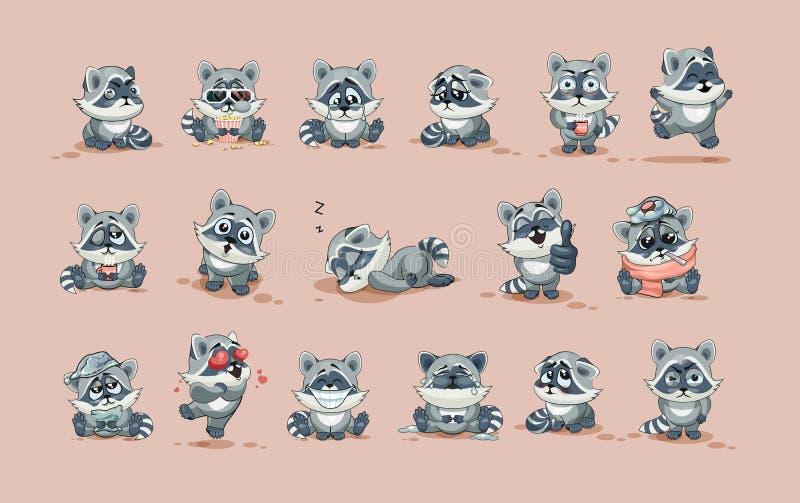 Emoticons för klistermärke för gröngöling för tvättbjörn för Emoji teckentecknad film med olika sinnesrörelser royaltyfri illustrationer