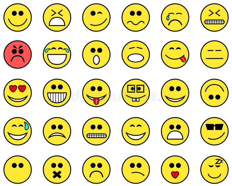 Emoticons flat collection cartoon isolated vector illustration