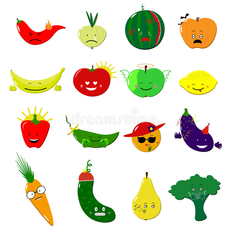 Emoticons food vector set. Cute funny stickers. Emoji fruits and vegetables flat cartoon style. Vector illustration. Vegan food emoji. Fruits and vegetables with royalty free illustration