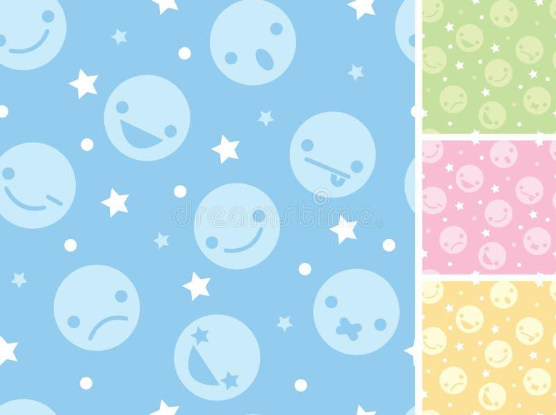 Emoticons fyra sömlösa modellbakgrunder stock illustrationer