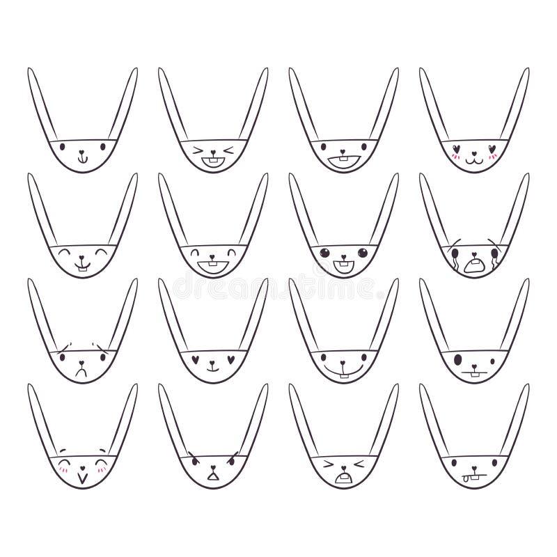 Emoticons Handdrawn 2 do coelho ilustração royalty free