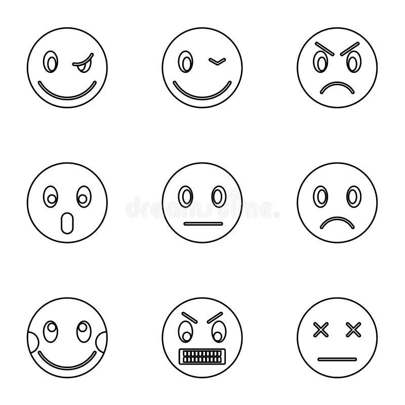 Emoticons ikony ustawiać, konturu styl royalty ilustracja