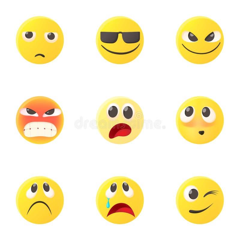 Emoticons ikony ustawiać, kreskówka styl royalty ilustracja