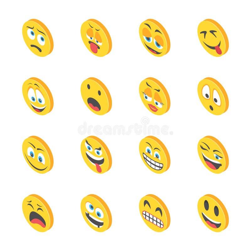 Emoticons Isometric ikony royalty ilustracja