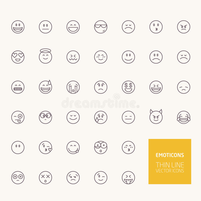 Emoticons konturu ikony royalty ilustracja