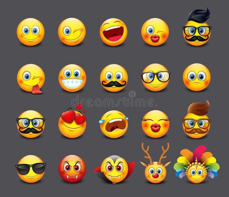 Emoticons lindos fijados, emoji - ejemplo stock de ilustración