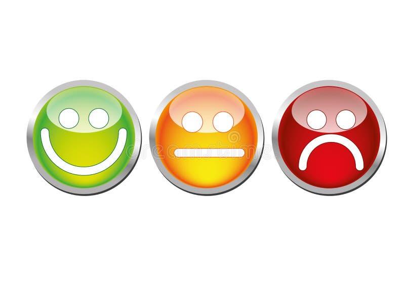Emoticons lustrosos do humor ilustração stock