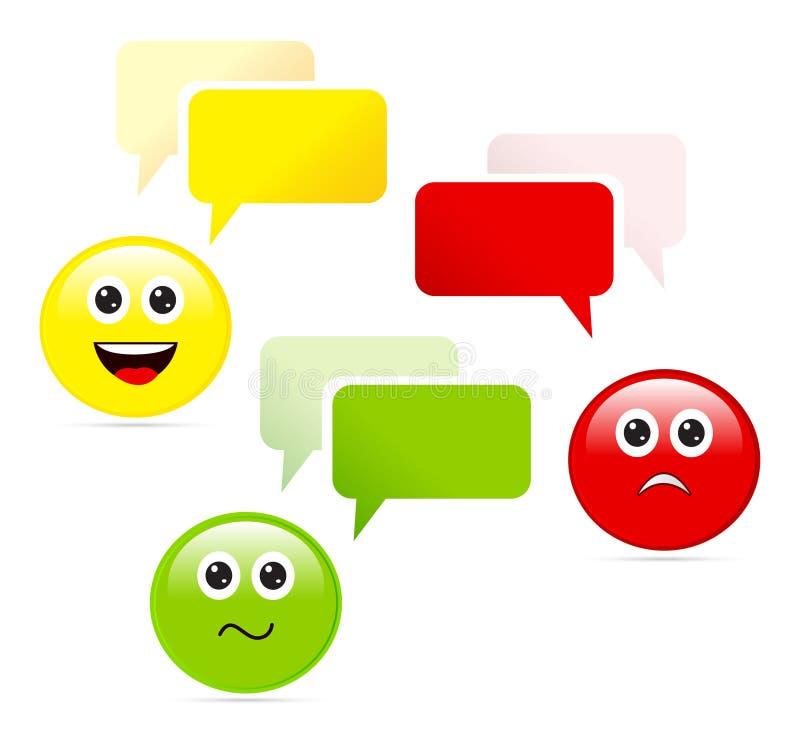 Emoticons med anförandebubblor royaltyfri illustrationer