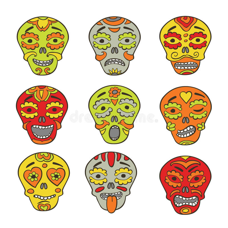 Download Emoticons Mexicanos De Los Cráneos Ilustración del Vector - Ilustración de holiday, símbolo: 42426980