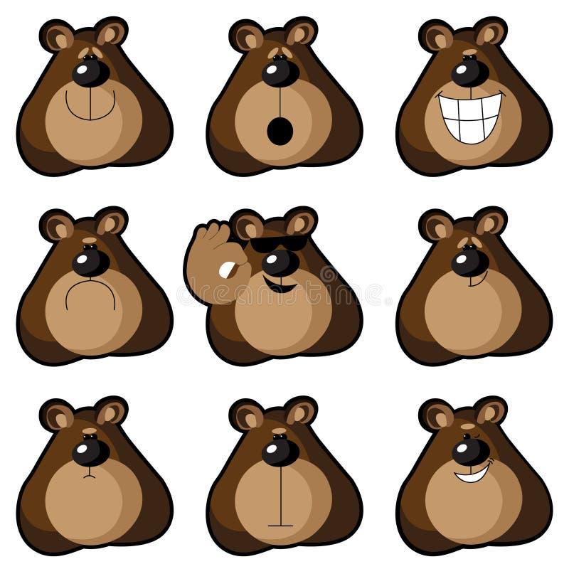 Emoticons niedźwiedzie royalty ilustracja