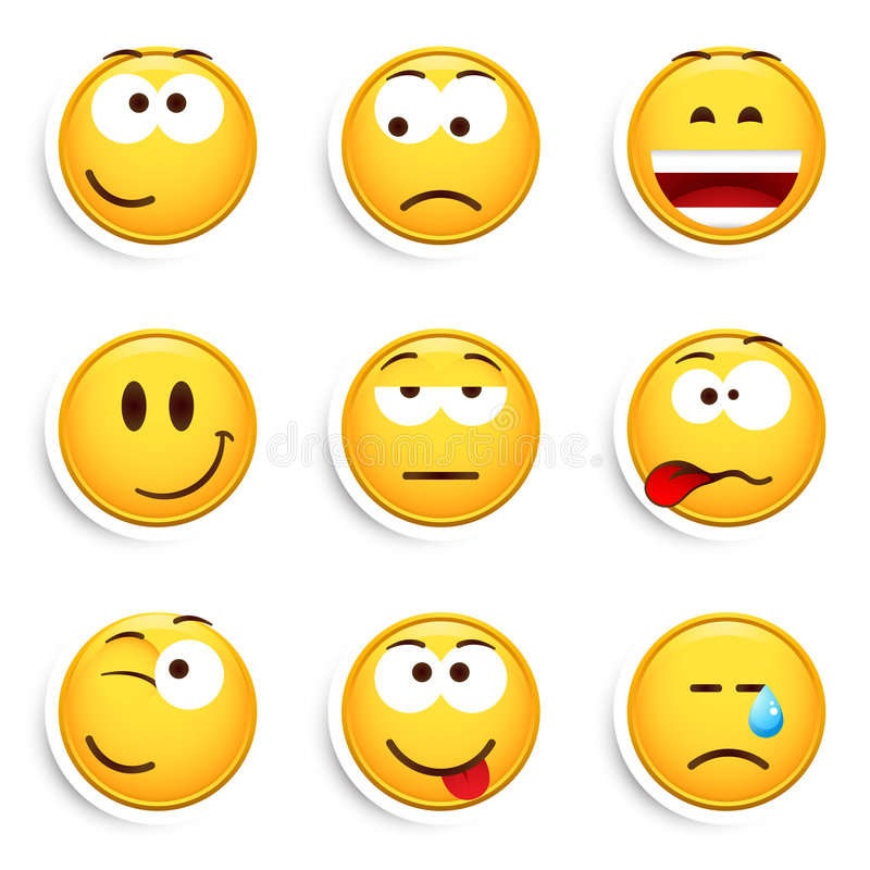 emoticons nio set smileys vektor illustrationer
