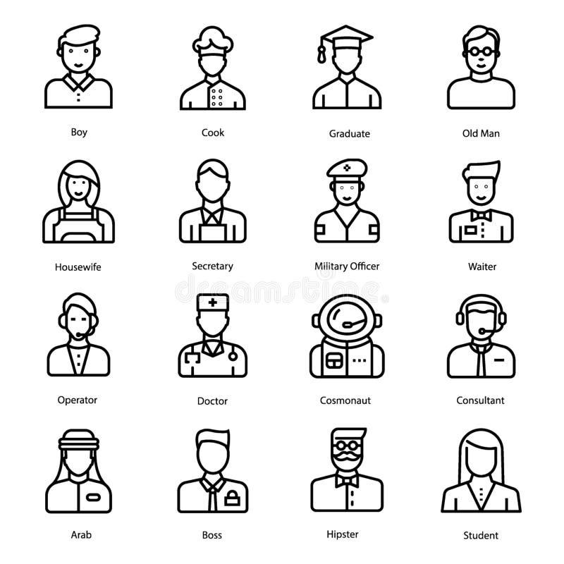Emoticons och Avatars fodrar symbolsuppsättningen royaltyfri illustrationer