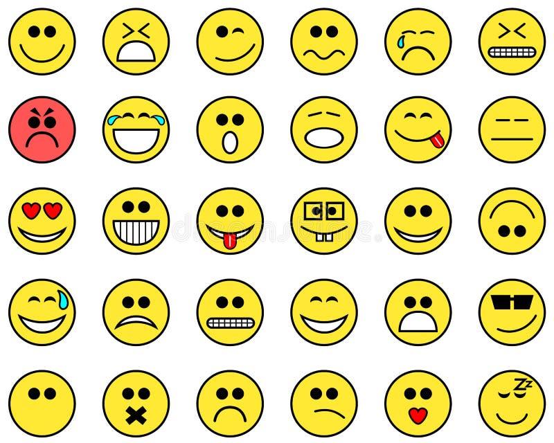 Emoticons płaska inkasowa kreskówka odizolowywająca ilustracja wektor