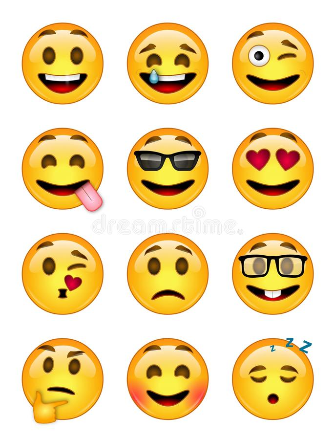 12 emoticons - pak 1 - EPS - illustrator stock fotografie
