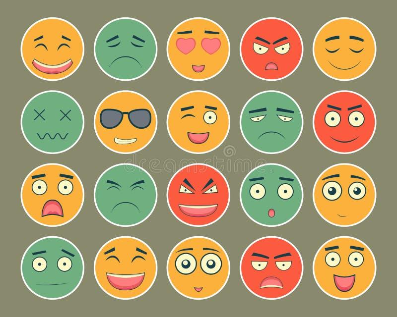 Emoticons projekta płaski set Emoticon dla strony internetowej, gadka, sms Emoticons ikony wektor royalty ilustracja