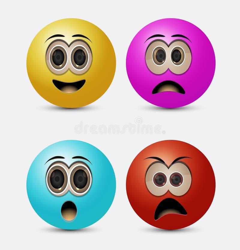 Emoticons redondos ilustração stock