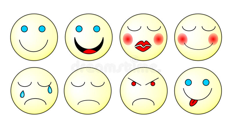 Download Emoticons set stock vector. Image of feeling, expressions - 12474224