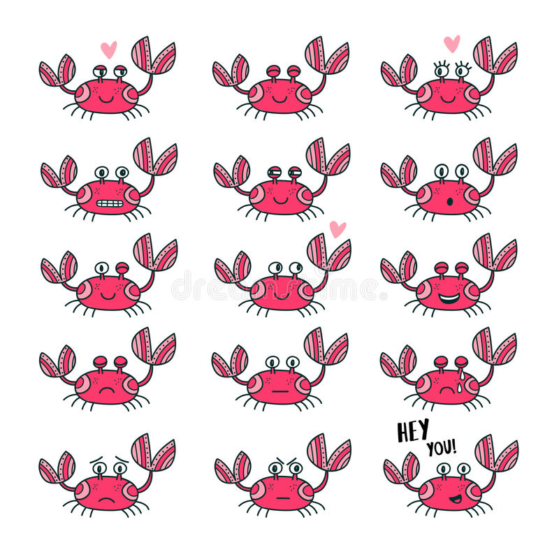 Emoticons set of cute crab in cartoon style vector illustration