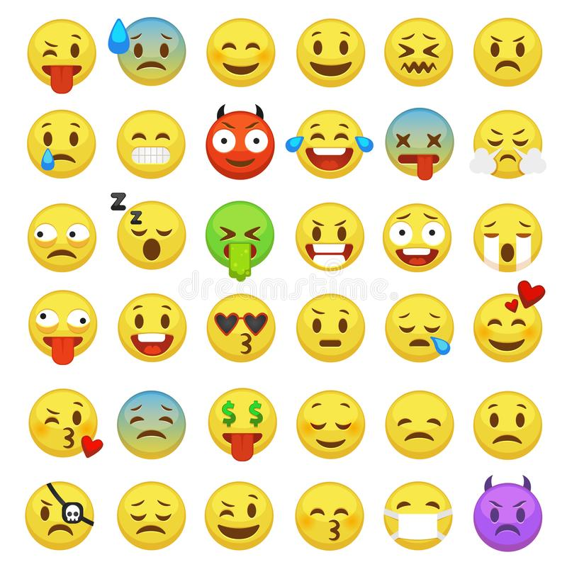 Emoticons set. Emoji faces emoticon smile funny digital smiley expression emotion feelings chat messenger cartoon emotes vector illustration