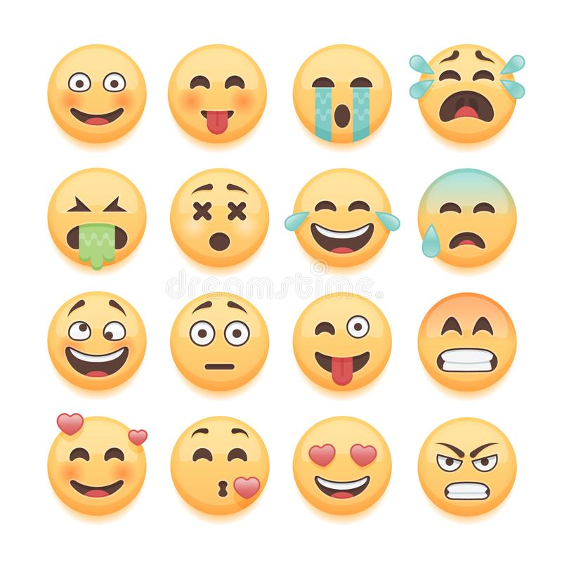 Emoticons set, emoji set, smiley collection. Emoticons pack for chat and web app design elements. royalty free illustration