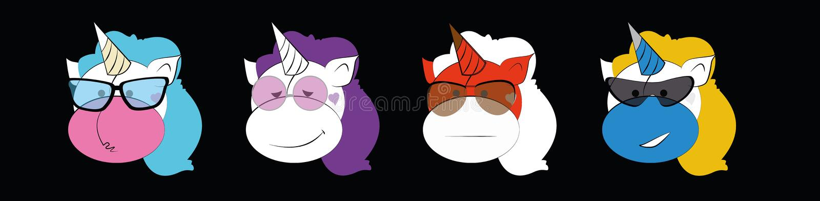 Emoticons set of Graphic - unicorns in glasses. Collection of emoji vector. Smile icons web on black background. Vector royalty free illustration
