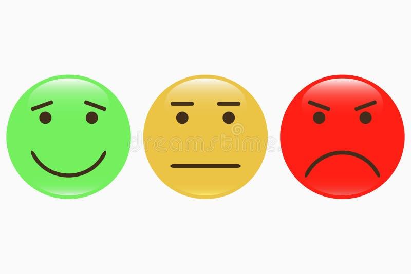 emoticons Set smiley ikony Informacj zwrotnych emocj twarz ilustracja wektor