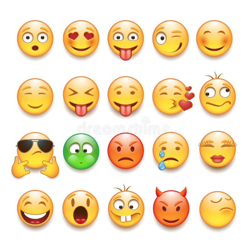 Emoticons set. In vector on white background
