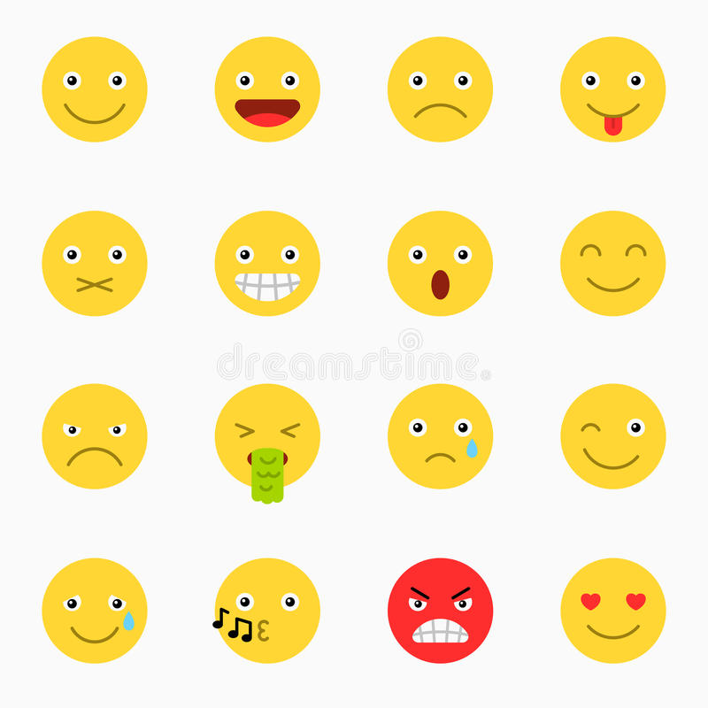 Emoticons set, yellow website emoticons vector illustration