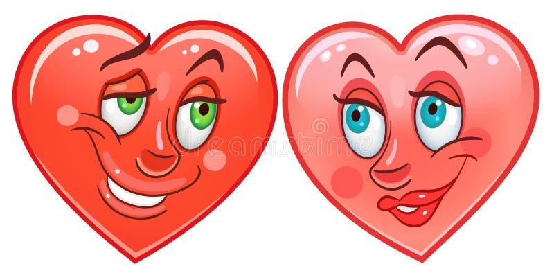 Emoticons Smiley Emoji de los corazones ilustración del vector