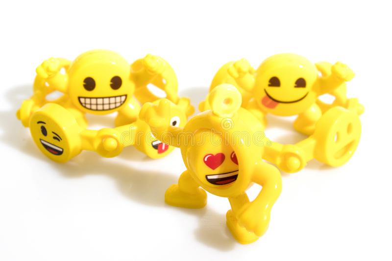 Emoticons toys isolated in a white background. Composition royalty free stock photo