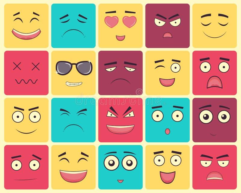 Emoticons ustawiają, emoji odizolowywający na białym tle ilustracja wektor