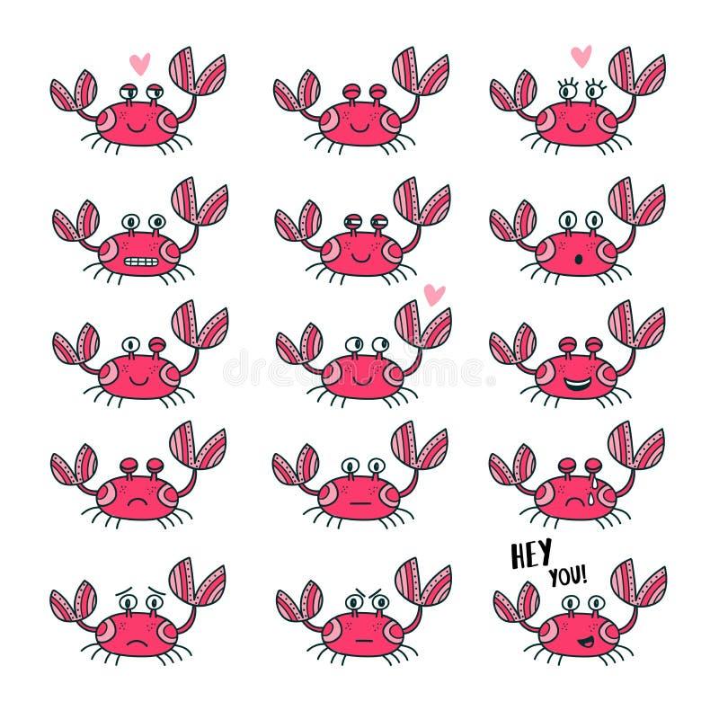 Emoticons ustawiający śliczny krab w kreskówce projektują ilustracja wektor