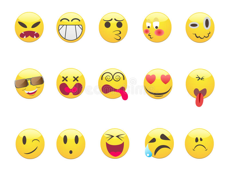 Emoticons ustawiający ilustracji