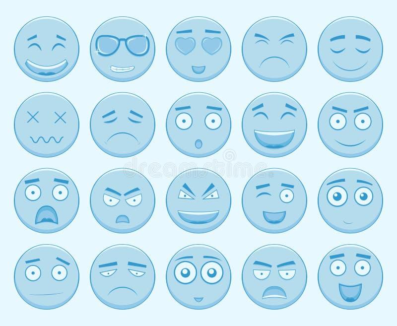 Emoticons ustawiający, emoji na białym tle Emoticon dla strony internetowej, gadka, sms wektor royalty ilustracja